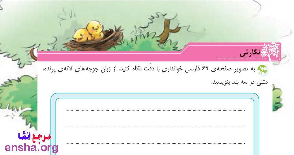 از زبان جوجه های لانه ی پرنده متنی در سه بند بنویسید صفحه 76 نگارش فارسی چهارم